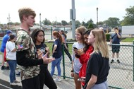 BHS Journalism Students Conducting Interviews at Fall Pep Rally
