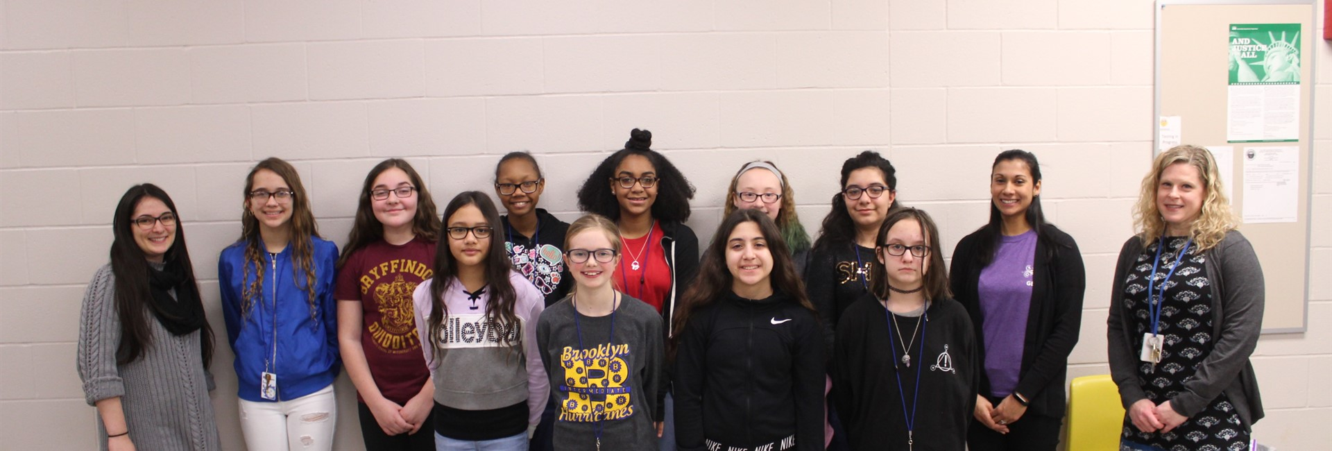 Brooklyn Middle School students who participated in the GE Girls program.