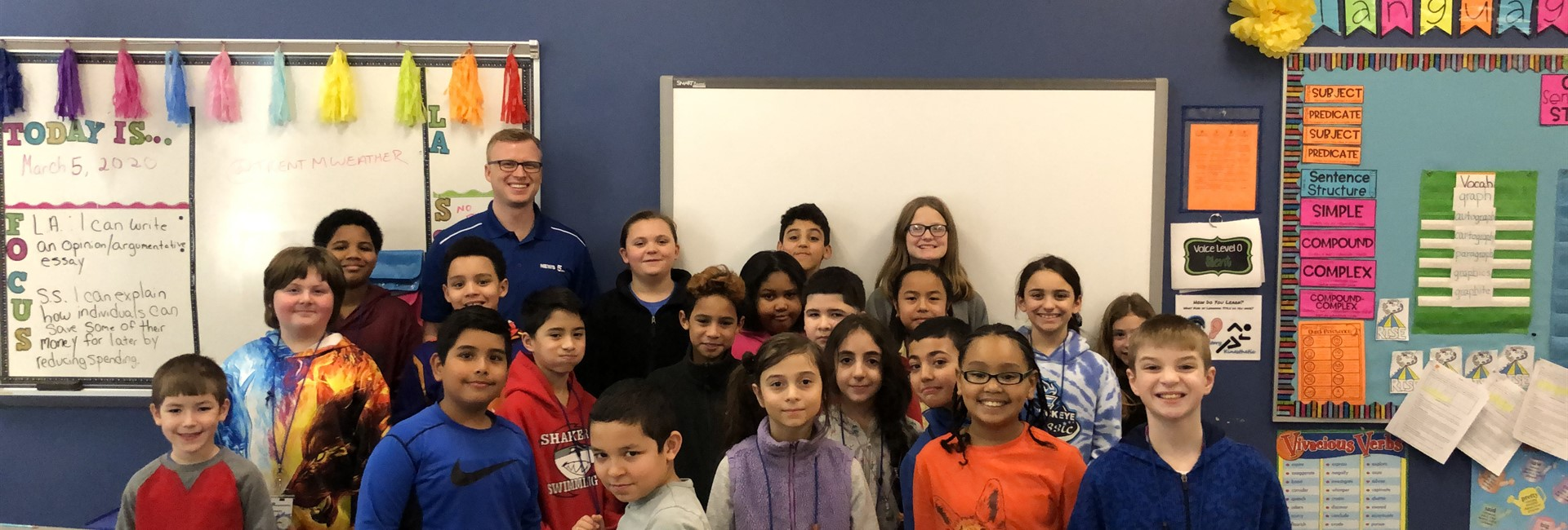News5 Meteorologist Trent Magill with 4th Graders