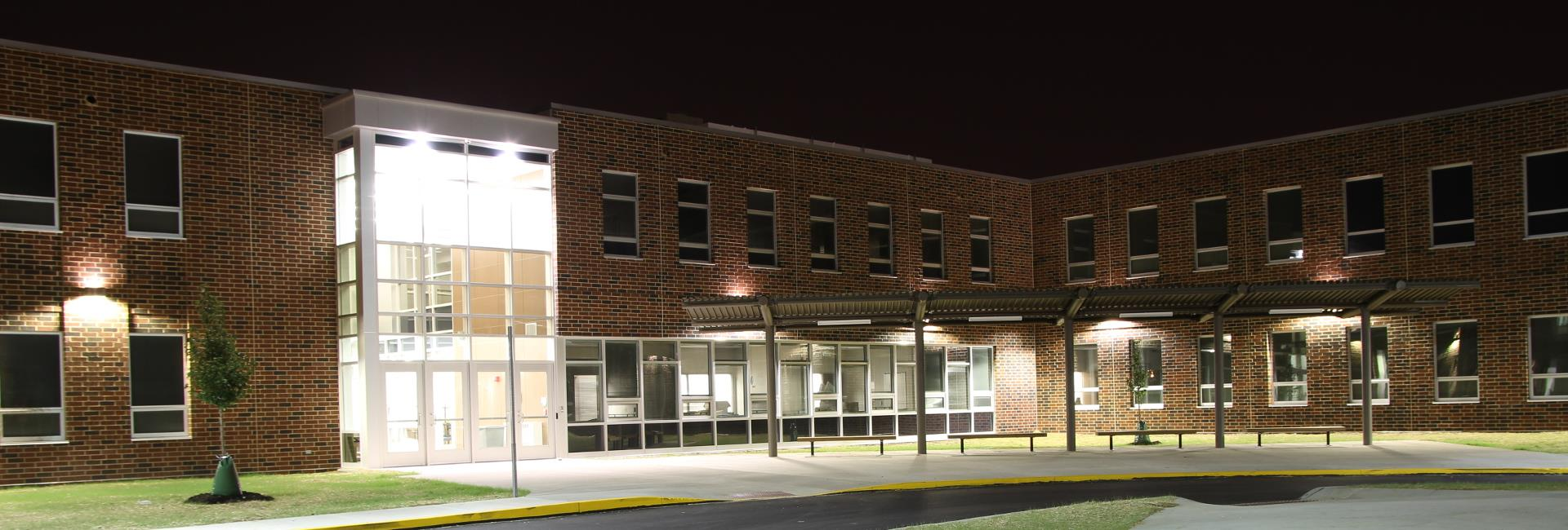 Brooklyn Intermediate School Front Door at Night